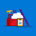 Toolbox with a pen, the cloud and a notebook