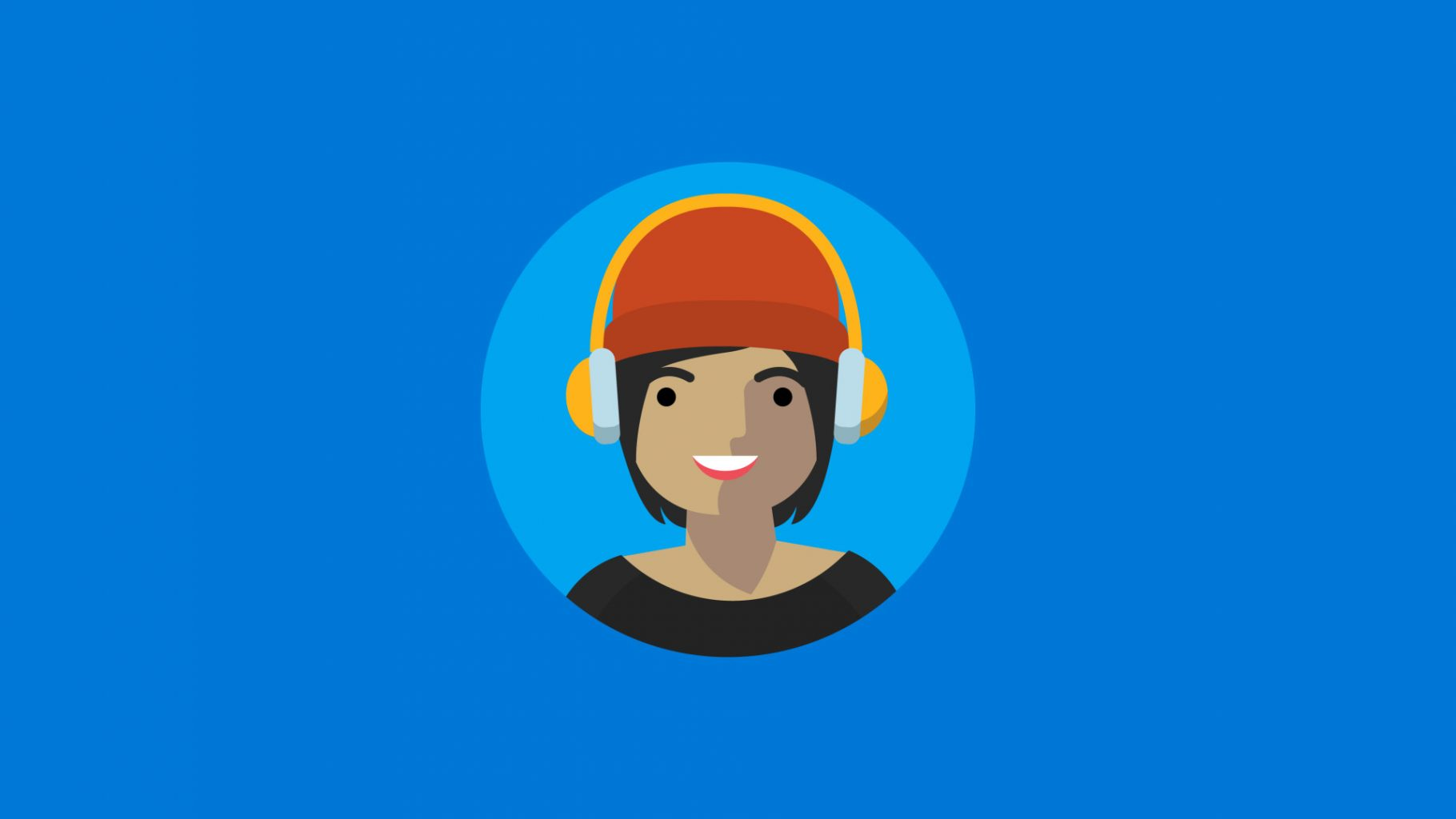 An illustration of a girl with headphones