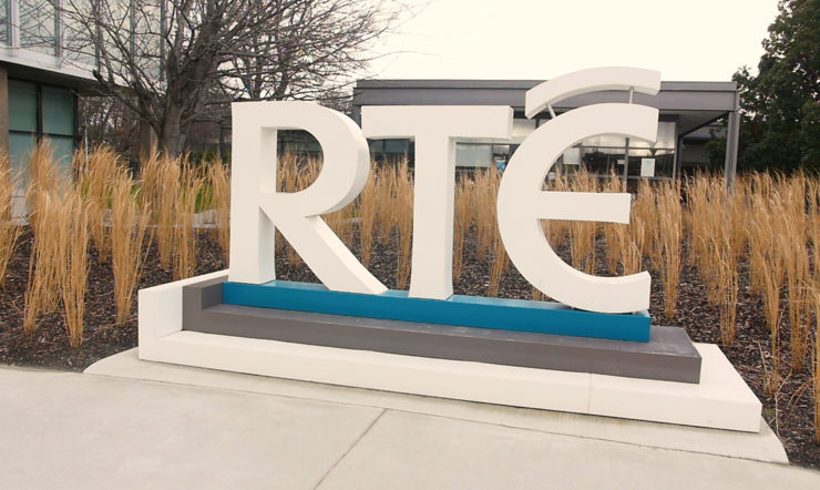 Image of a large RTE sign at their HQ