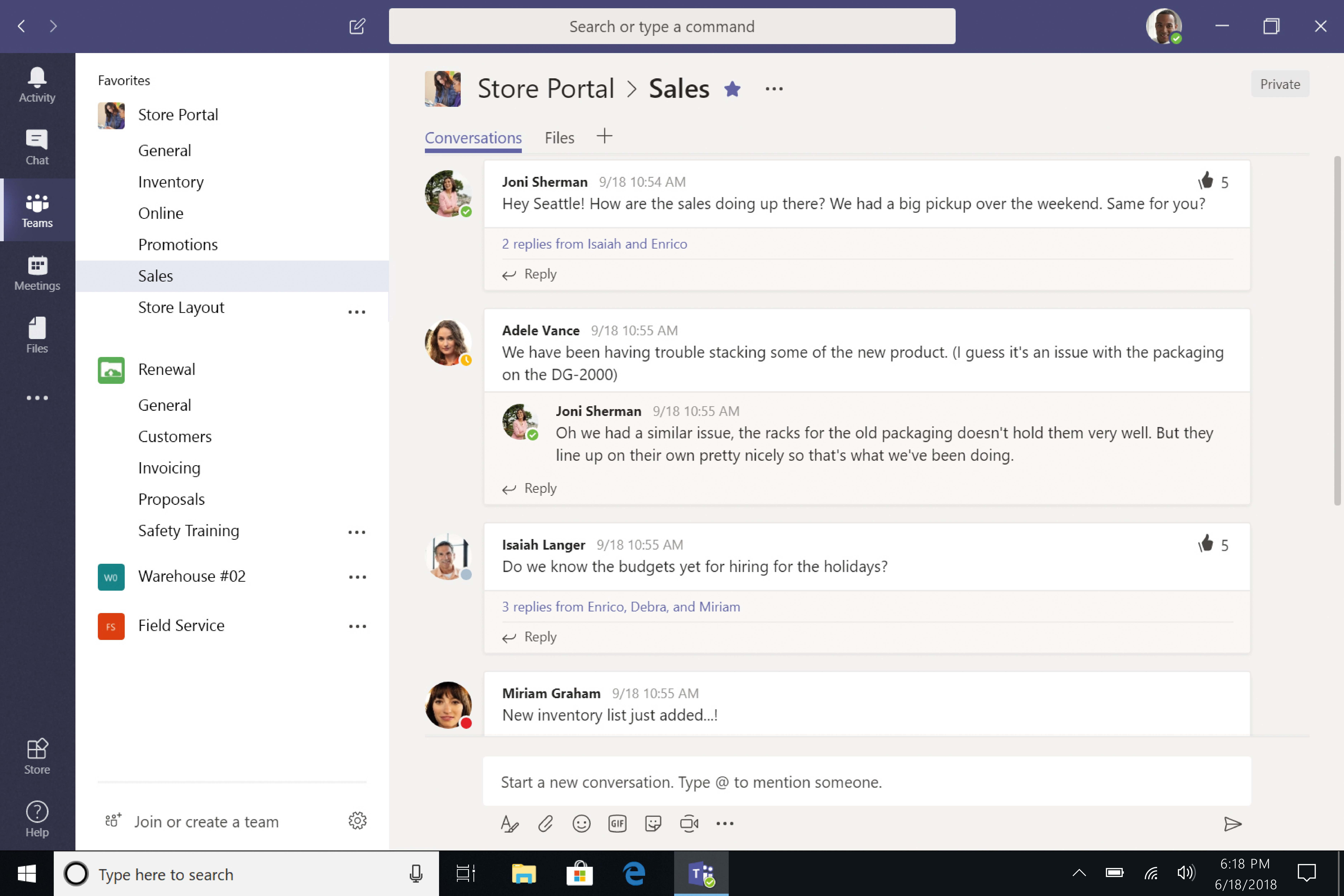 Screenshot of Microsoft Teams