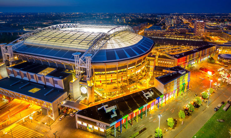 Areal shot of the Johan Curijff ArenA in Amsterdam