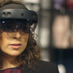 A woman wearing HoloLens