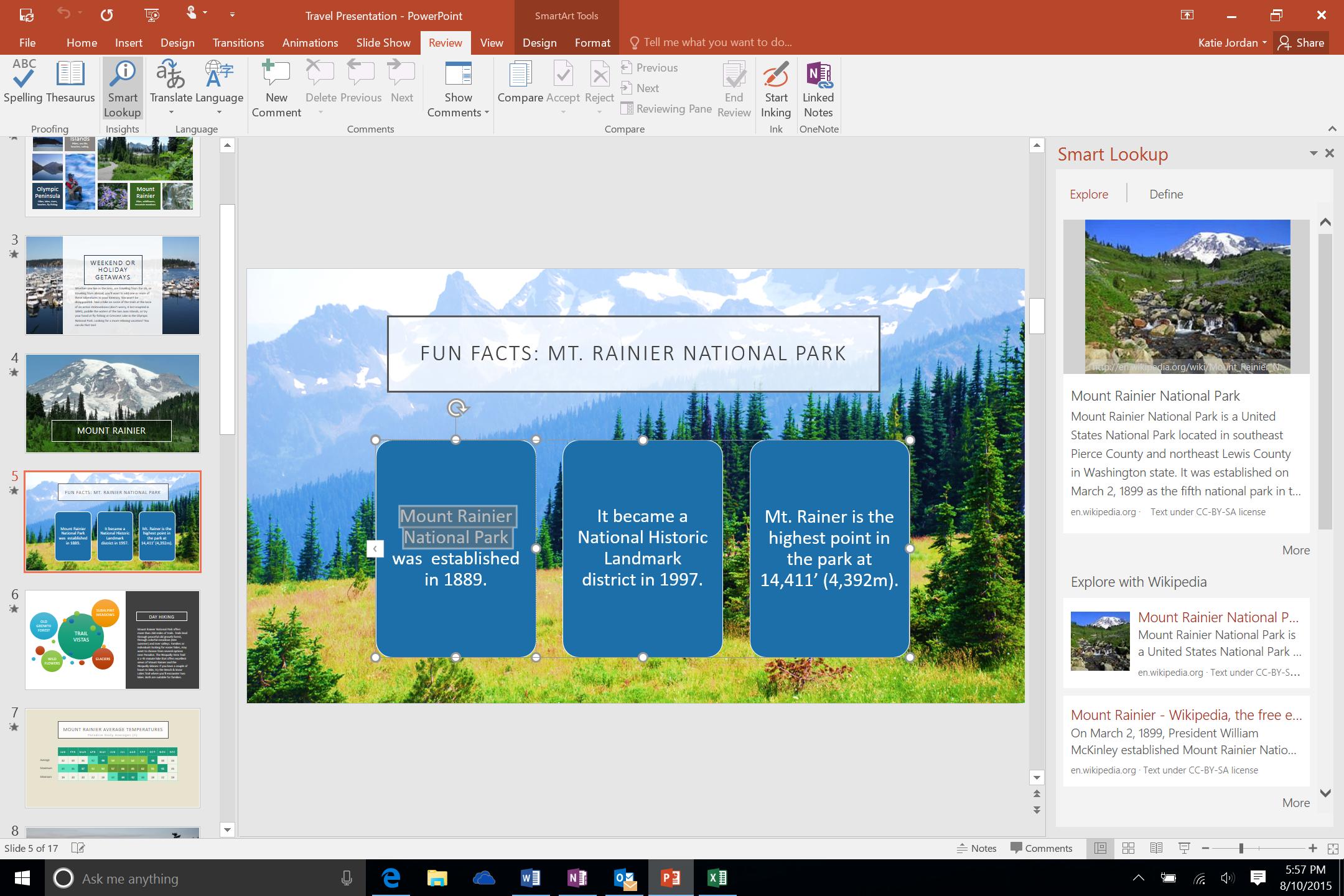 Smart Lookup in PowerPoint 2016