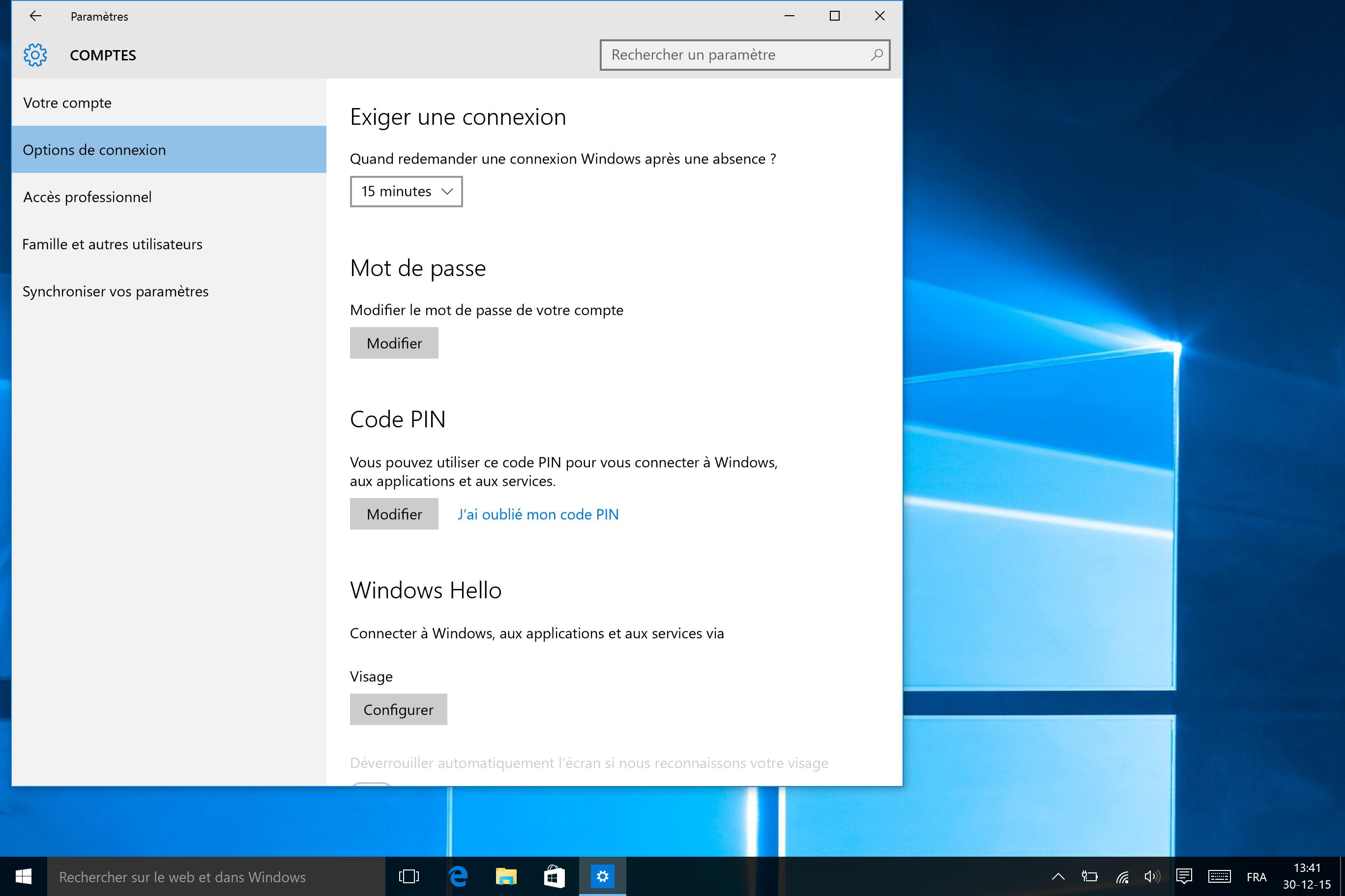 windows hello - pincode scherm FR