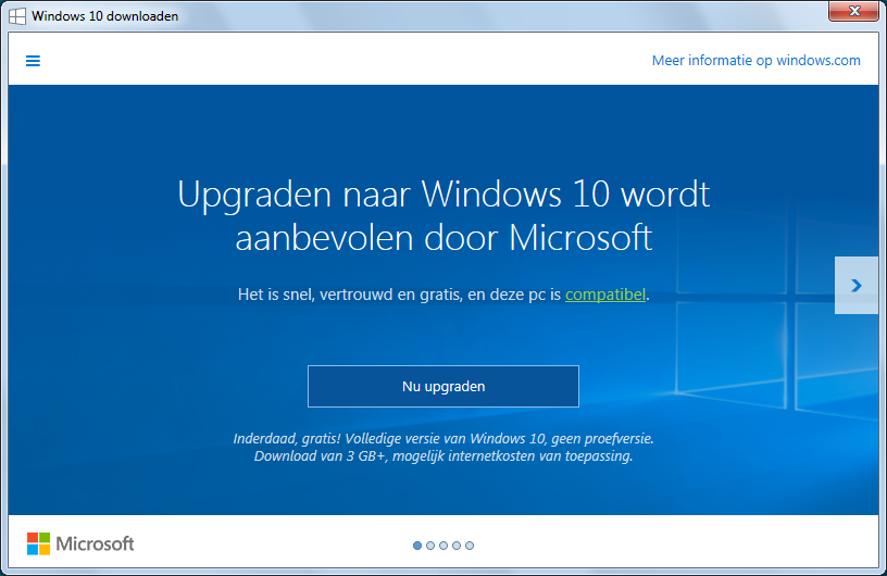 Upgraden naar Windows 10 wordt aanbevolen door Microsoft