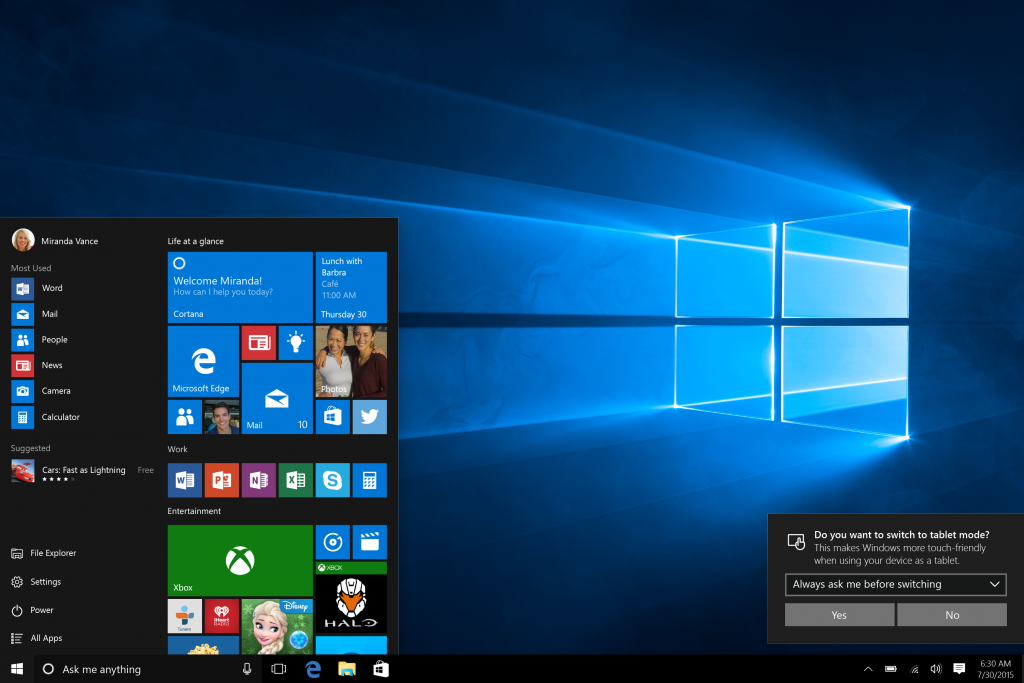 Sur les appareils deux en un, Windows 10 active automatiquement le mode tablette ou ordinateur portable, vous pouvez ainsi utiliser l'appareil de manière optimale.