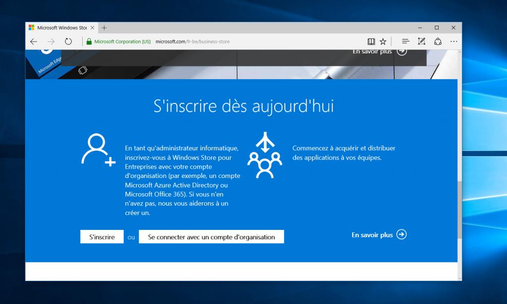 Se connecter sur Windows Store for Business