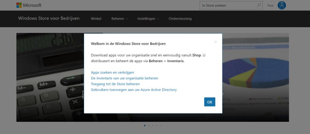 Welkomstscherm voor Windows Store for Business.