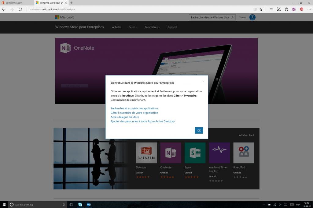 Ecran de bienvenue du Windows Store pour Entreprises