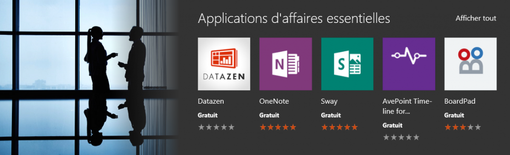 Les applications essentielles pour les professionnels peuvent être facilement trouvées dans le Windows Store for Business.