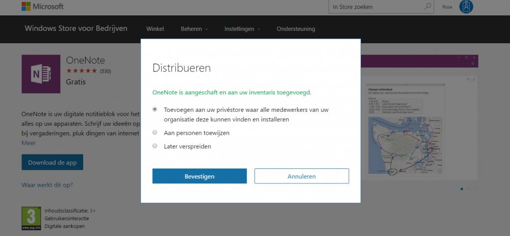Apps distribueren binnen de Windows Store for Business.
