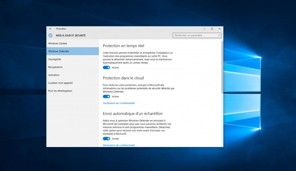 Windows 10 consacre une grande attention aux différentes formes de protection.