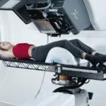 A woman undergoing a scan