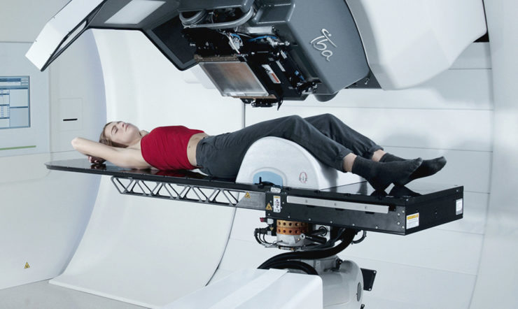 A woman undergoing a scan