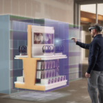 A man standing in front of a digital stand with HoloLens