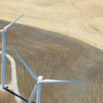 Industry Aerial view of windfarm